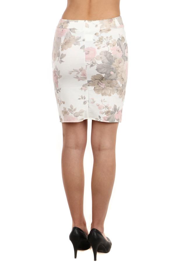 9219e24d948a Dámská květovaná pouzdrová midi sukně