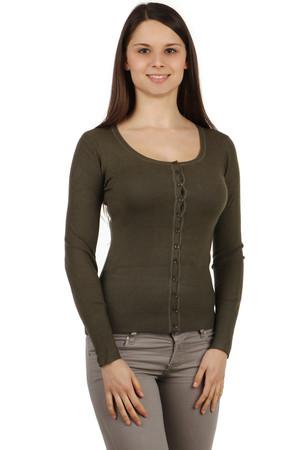 Elegantní dámský svetr s dlouhým rukávem a na knoflíčky d89f6263d7