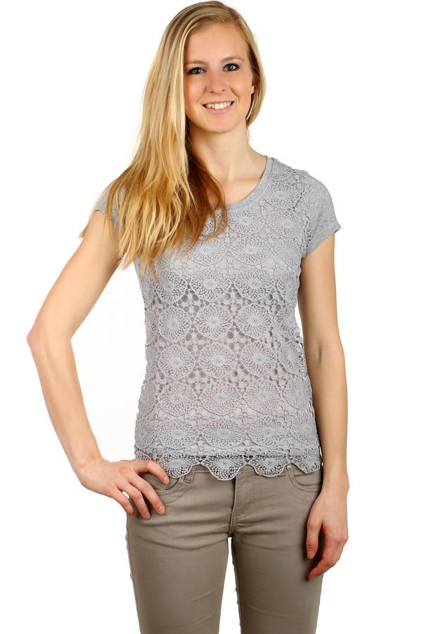 Elegantní dámské bavlněné tričko s krajkou  d2bc4b980a5
