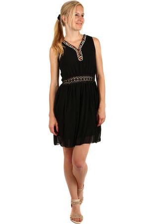 Krátké černé šaty krajkové bez rukávu pro plnoštíhlé novinky  5cb7a24d5d