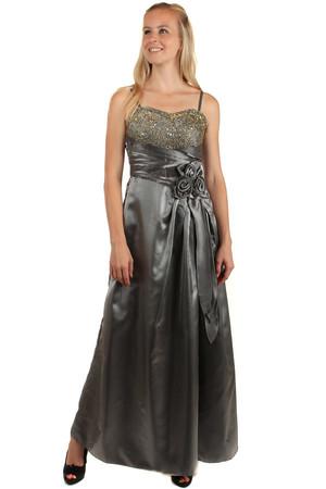 9a401be5946 Dlouhé lesklé večerní šaty se zlatou výšivkou