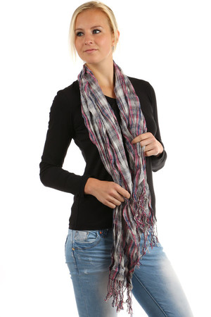 68661117678 Dámský šátek s kostkovaným retro vzorem