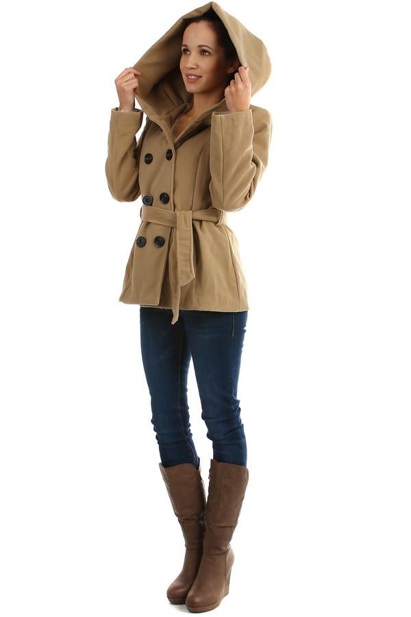 375c0b5f51 Dámský krátký kabát s velkou kapucí a páskem | Glara.cz