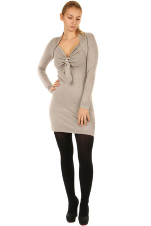 Dámské dlouhé hnědé svetry jednobarevné s dlouhým rukávem bez ... aae3555733
