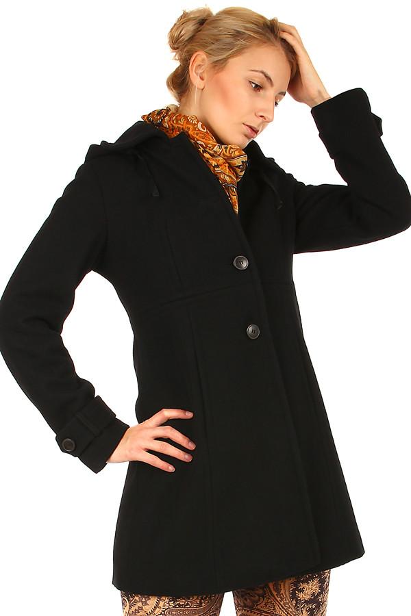 Zimní dámský vlněný černý kabát i pro plnoštíhlé  dd197be8f7
