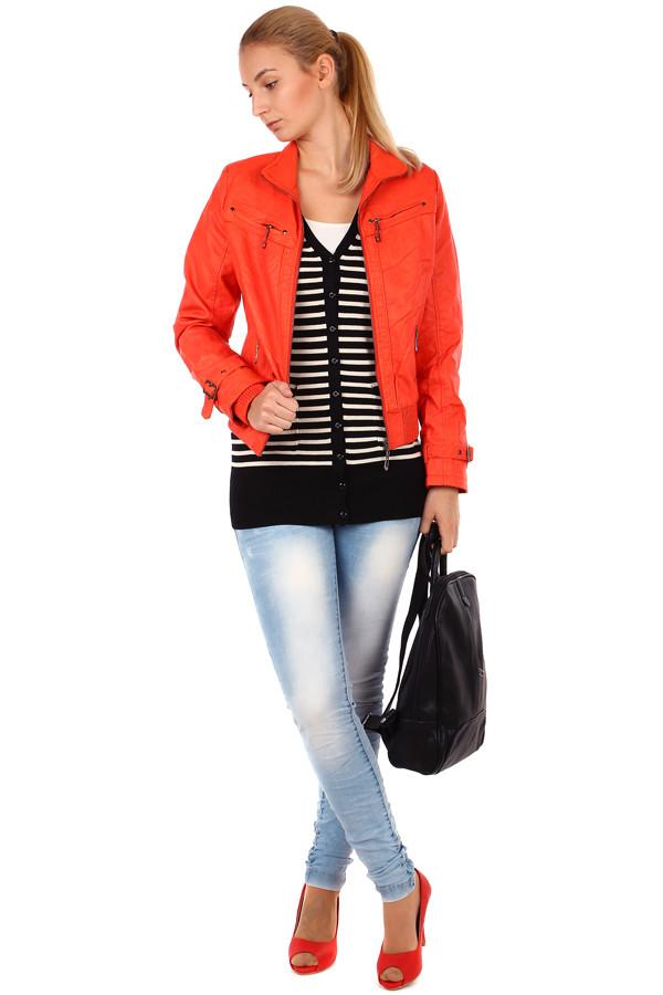 8d86d6d98d50 Krátká dámská koženková bunda na zip