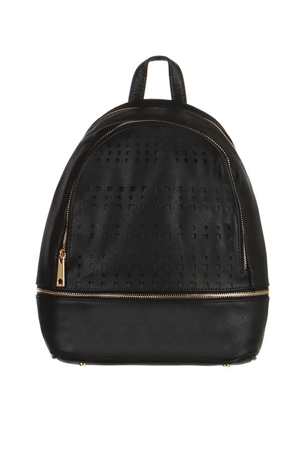 Dámský elegantní děrovaný koženkový batoh na zip  82b469a140