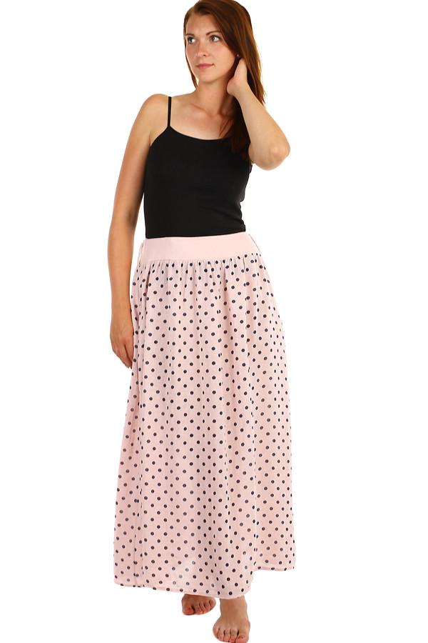 003a7eeb856d Dlouhá dámská lněná sukně s puntíkama