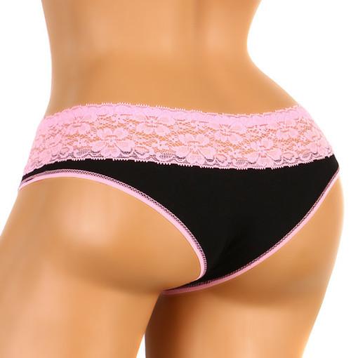Bavlněné dámské puntíkované kalhotky s krajkou  b686b7d2bf
