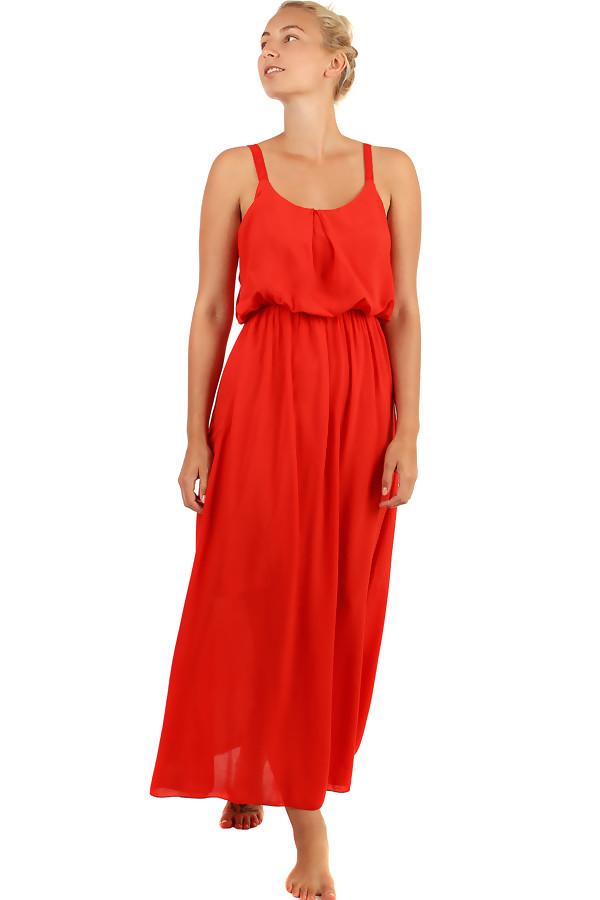 22b3f1c3c572 Jednobarevné maxi šaty s krajkovými ramínky