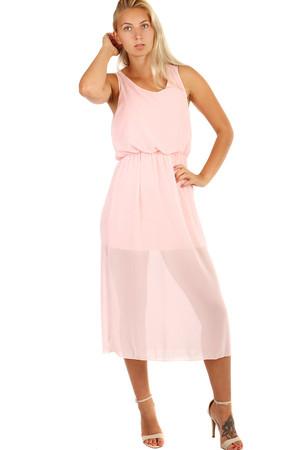 Dlouhé růžové společenské šaty pro plnoštíhlé výprodej  e6496ea361