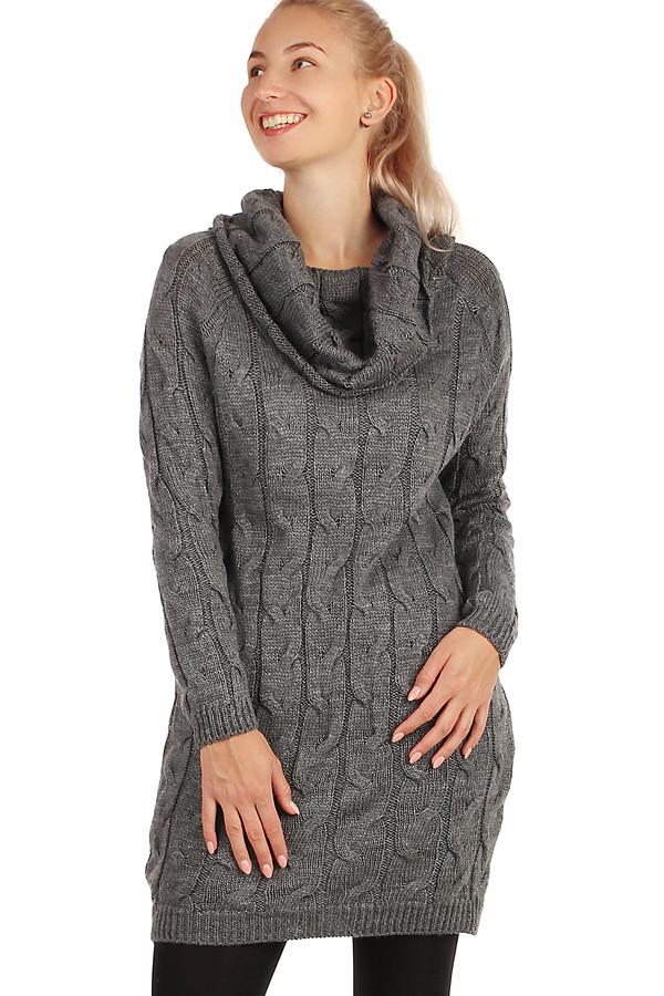 19fad5c40970 Dámské zimní úpletové svetrové šaty s dlouhým rukávem