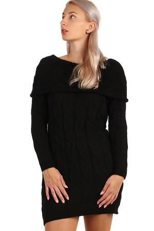 7b68a96881c Krátké černé šaty s ornamentem s dlouhým rukávem pro plnoštíhlé ...