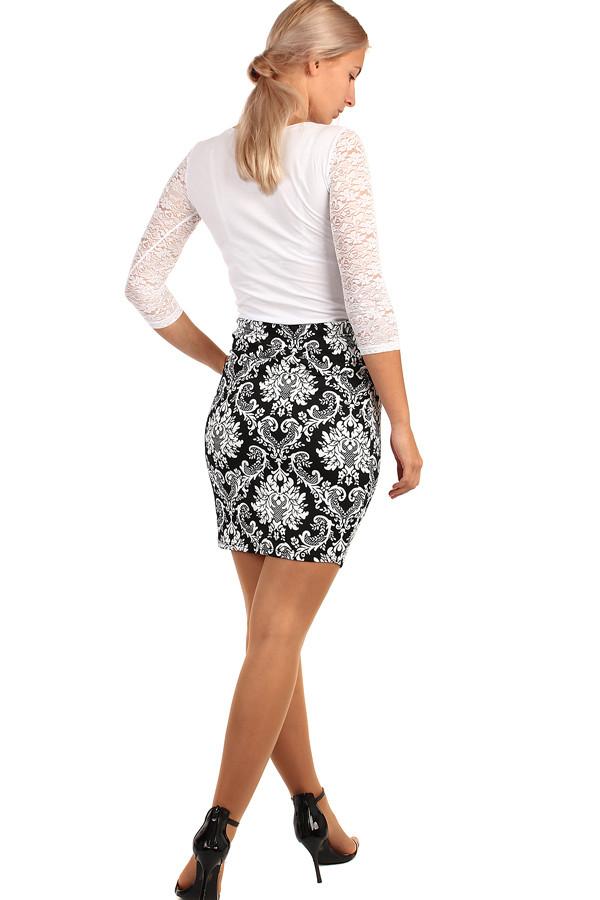 2239f7768ee8 Dámská společenská pouzdrová krátká sukně s květovaným vzorem