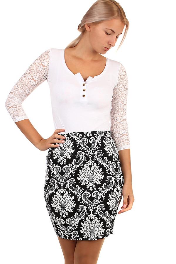1c24c1905c51 Dámská společenská pouzdrová krátká sukně s květovaným vzorem
