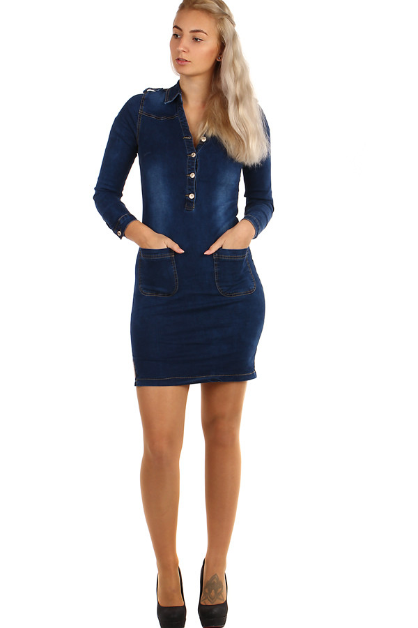 Krátké dámské džínové šaty s dlouhým rukávem  49a6fdb730f