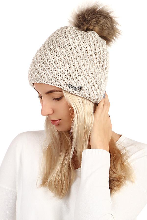 Pletená dámská zimní čepice s bambulí  222555b5b75