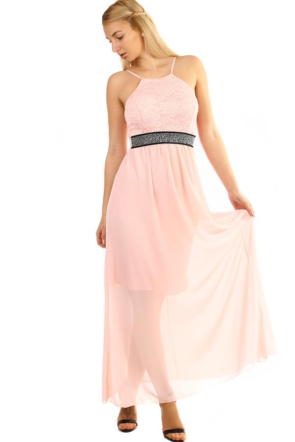 Dlouhé šifonové šaty s krajkou na ples s úzkými ramínky  012e737c44