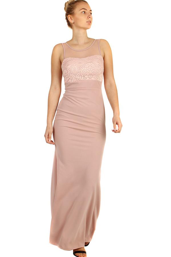 54ff80faa1cf Dlouhé plesové šaty s krajkovým vrškem