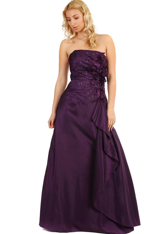Dlouhé plesové fialové šaty s flitry  2e090da59e