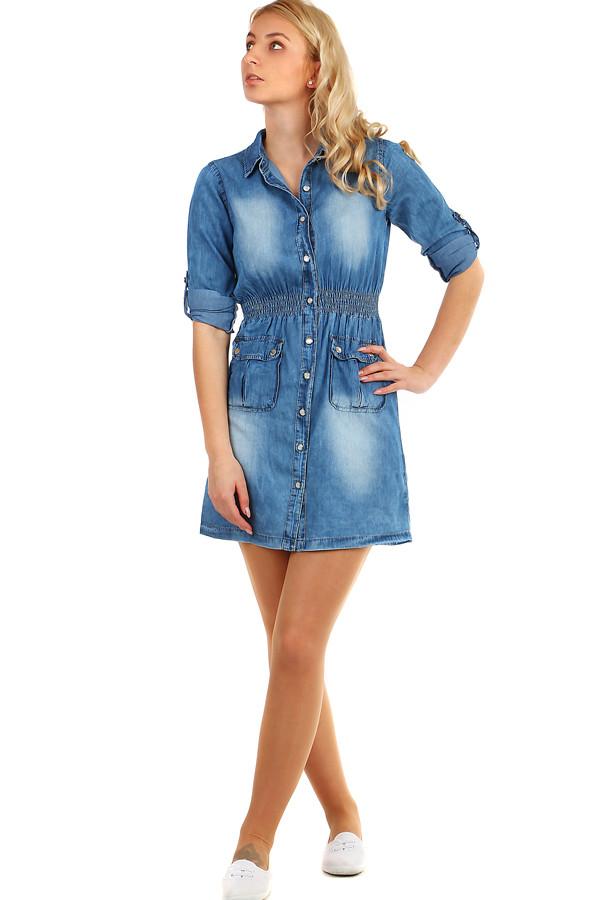 805610036dda Krátké dámské riflové šaty s tříčtvrtečními rukávy