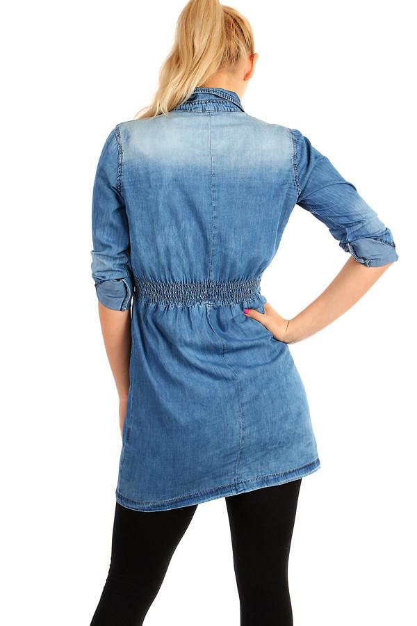a18b30654bb1 Krátké dámské riflové šaty s tříčtvrtečními rukávy