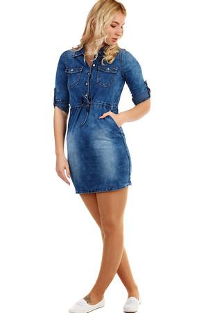 d06afae535c Krátké džínové podzimní šaty s tříčtvrtečním rukávem