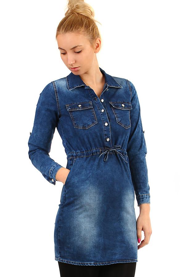 8b7580444a7 Krátké džínové podzimní šaty s tříčtvrtečním rukávem