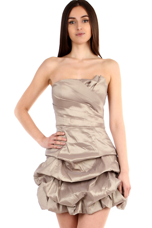 4f9f23e7a Béžové krátké dámské šaty bez ramínek na ples | Glara.cz