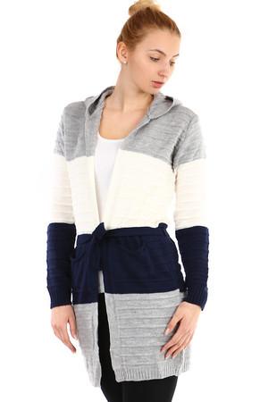 Dámský pruhovaný cardigan s kapucí fe6d5987fa