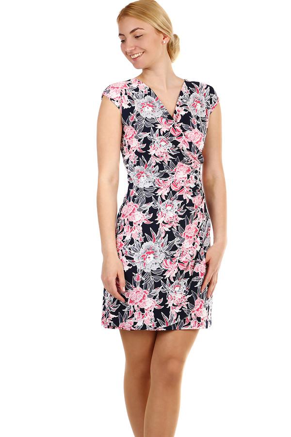 231d85076dc Dámské krátké zavinovací šaty s květinami nadměrné velikosti