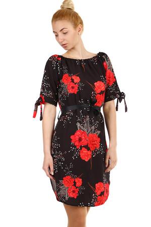 Levné černé šaty květované s krátkým rukávem s  2a902f340d