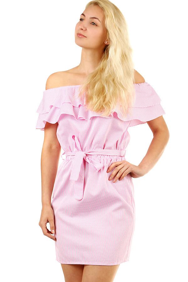 Letní proužkované dámské šaty s volánem  0579ecddeb