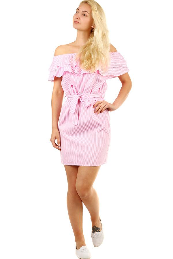 Letní proužkované dámské šaty s volánem  c992d64431