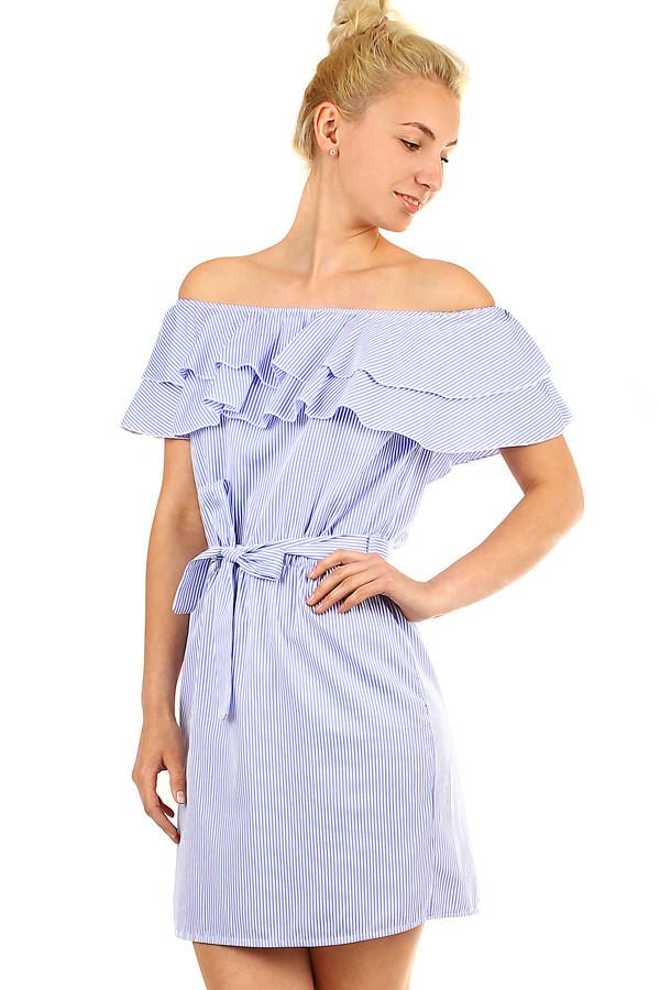 14cc54742b77 Letní proužkované dámské šaty s volánem