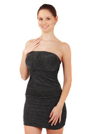 7cca1e7215d8 Krátké třpytivé šaty bez ramínek