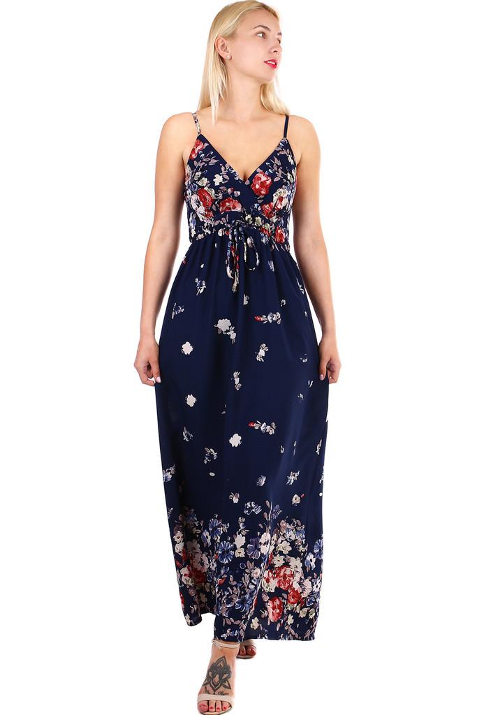 434260e94ff6 Dlouhé dámské áčkové šaty s potiskem květin a úzkými ramínky