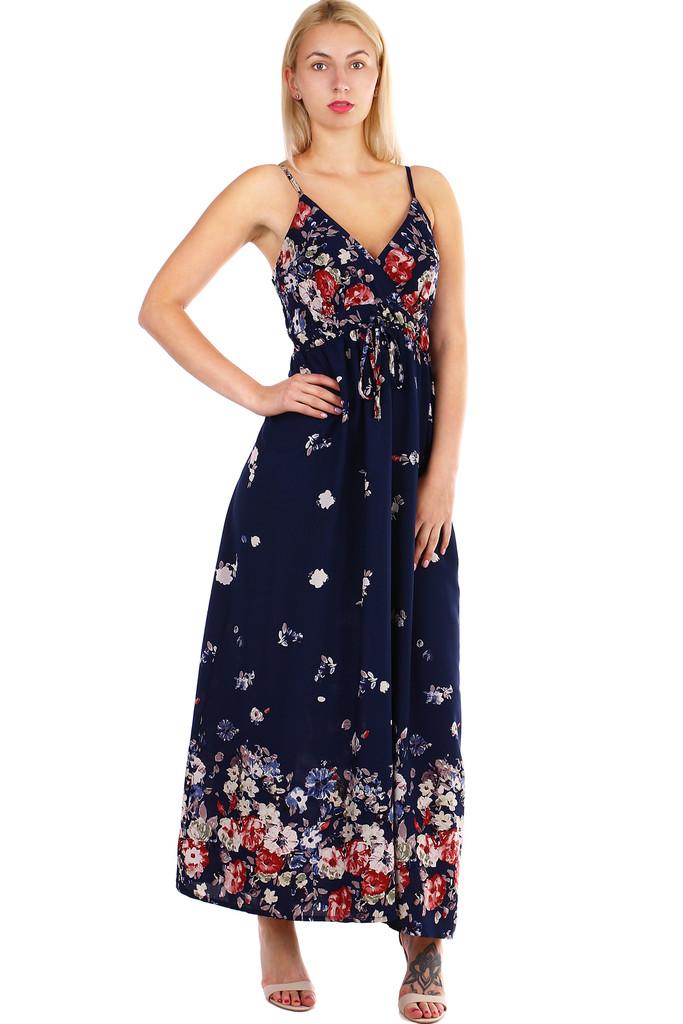 Dlouhé dámské áčkové šaty s potiskem květin a úzkými ramínky  06ba982815