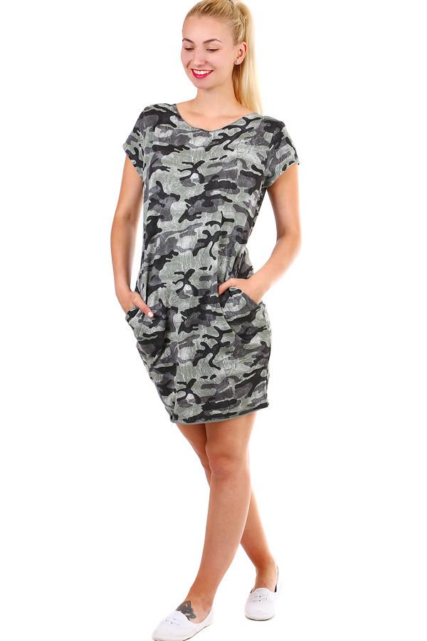 c29240ee7fd Krátké dámské šaty s army vzorem