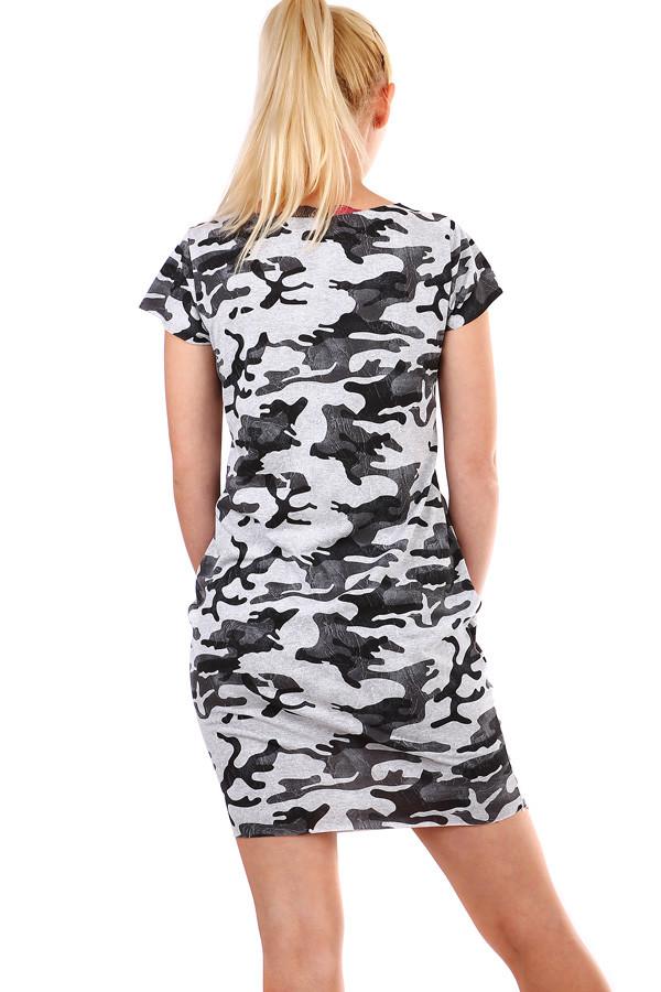 b81f7484f591 Krátké dámské šaty s army vzorem