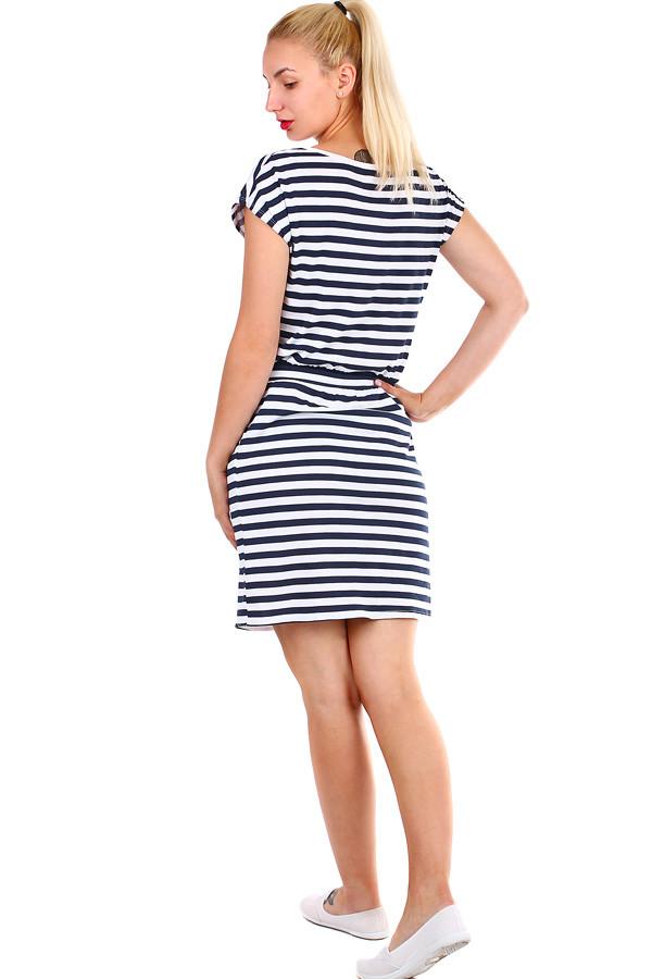 Bavlněné dámské krátké pruhované šaty  e94ac640bf