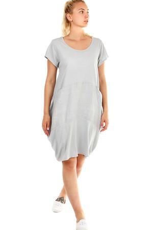 d9b5df29b14 Luxusní dámské krátké šedé bavlněné šaty bez vzoru l