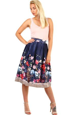 1831502f88f4 Dámská skládaná půlkolová retro sukně s květinovým potiskem