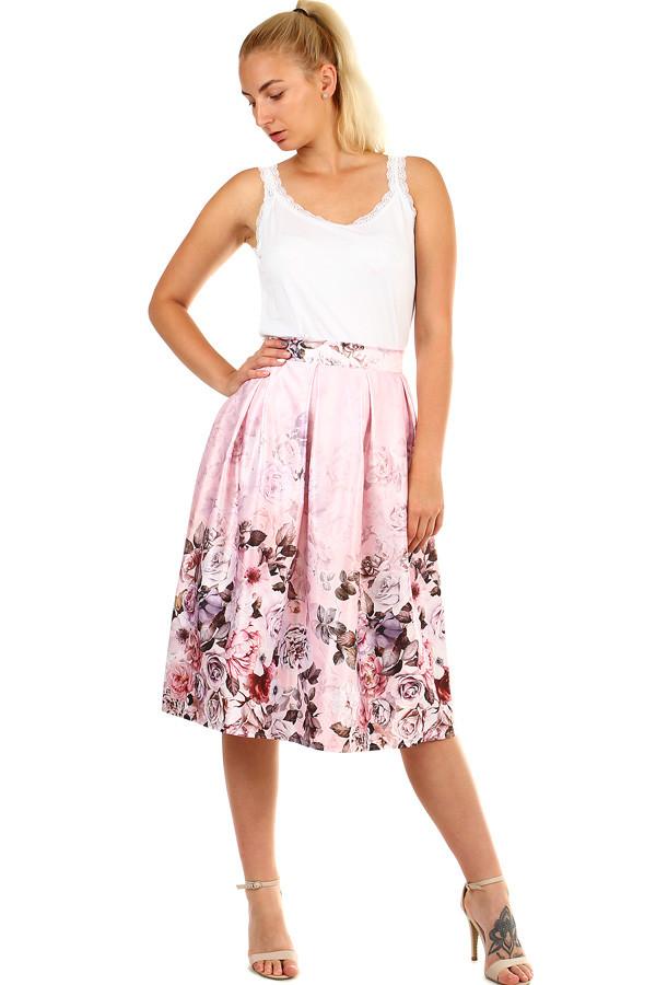 f144c0ad4acf Dámská půlkolová skládaná midi sukně s květinovým potiskem