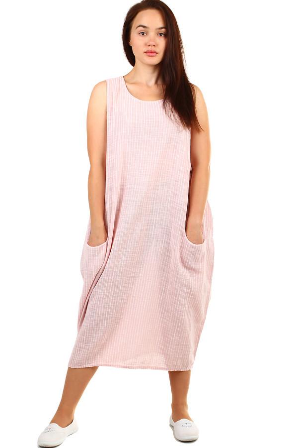 Pruhované volné šaty bez rukávů i pro plnoštíhlou postavu  f536c18a0d0