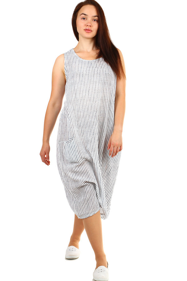 Pruhované volné šaty bez rukávů i pro plnoštíhlou postavu  8513a66fe4