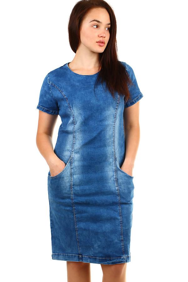 bd5e06eb413 Dámské krátké riflové šaty s krátkým rukávem
