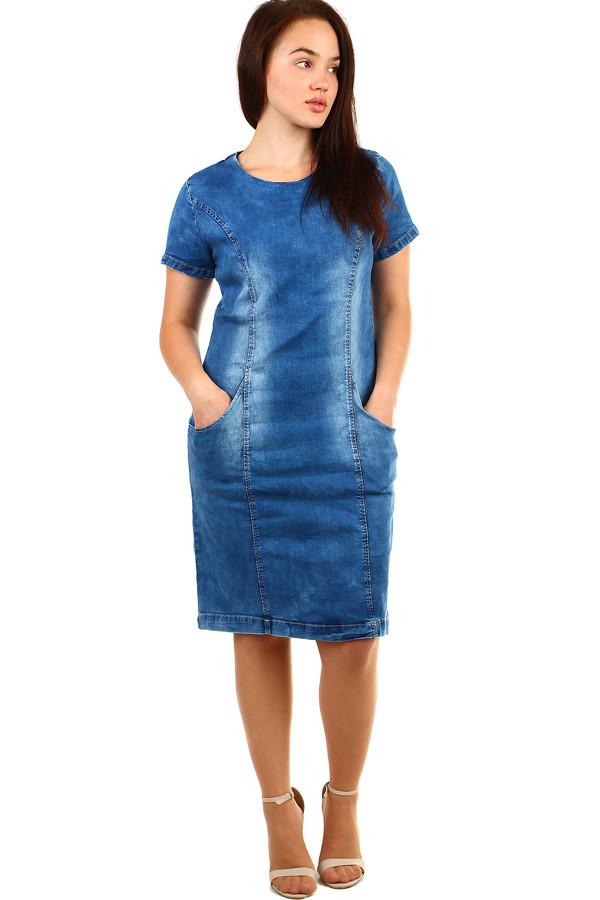 ff4285ff8b6 Dámské krátké riflové šaty s krátkým rukávem