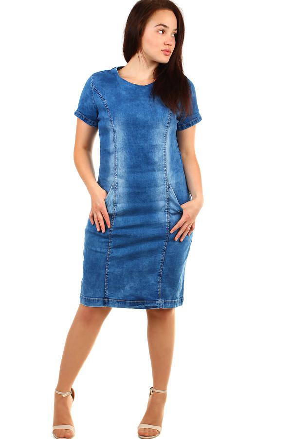 52b0255d498 Dámské krátké riflové šaty s krátkým rukávem