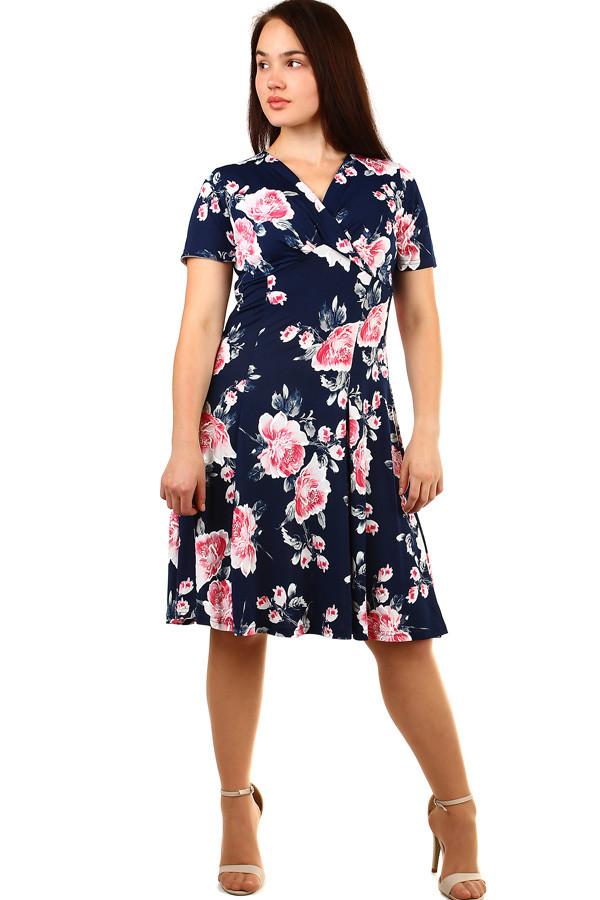 Krátké dámské květované retro šaty pro plnoštíhlé  0eddb2dbcc4